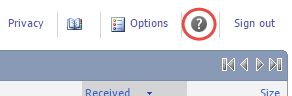Help option selected under the question mark button dropdown menu