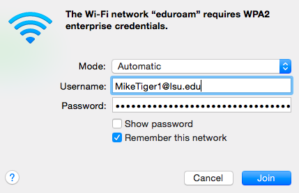 Wi-Fi credentials login box