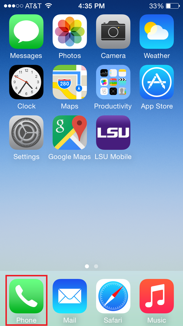 This shows the phone application icon highlighted on the iPhone homescreen.