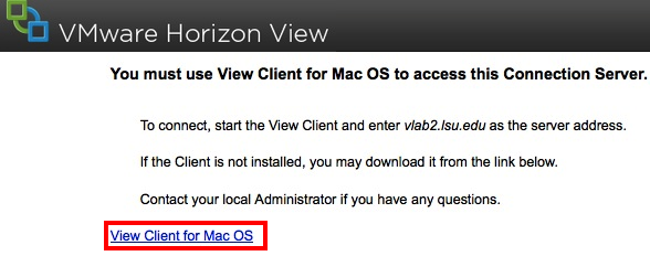 View VMware Client for Mac OS