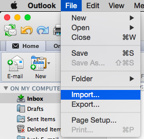 Outlook File drop down menu with import selected