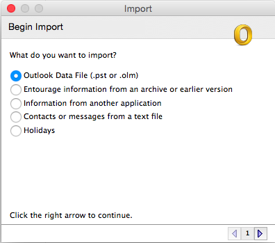 the Import window with outlook data file selected
