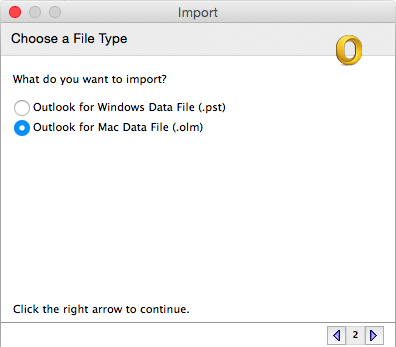 Choose a file type to import with Mac Data File selected