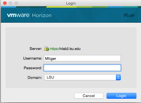 screenshot of the vmware Horizon Login Screen for vlab.