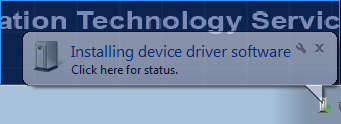 screenshot of the Installing device driver software notification.