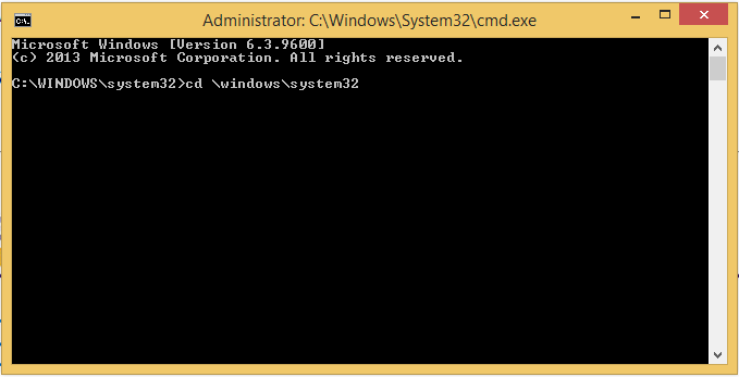 Entering cd \windows\system32 in the command prompt.