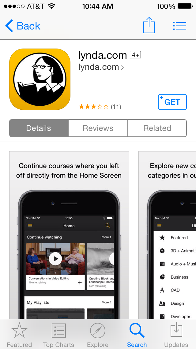 Lynda.com app in the iOS App store