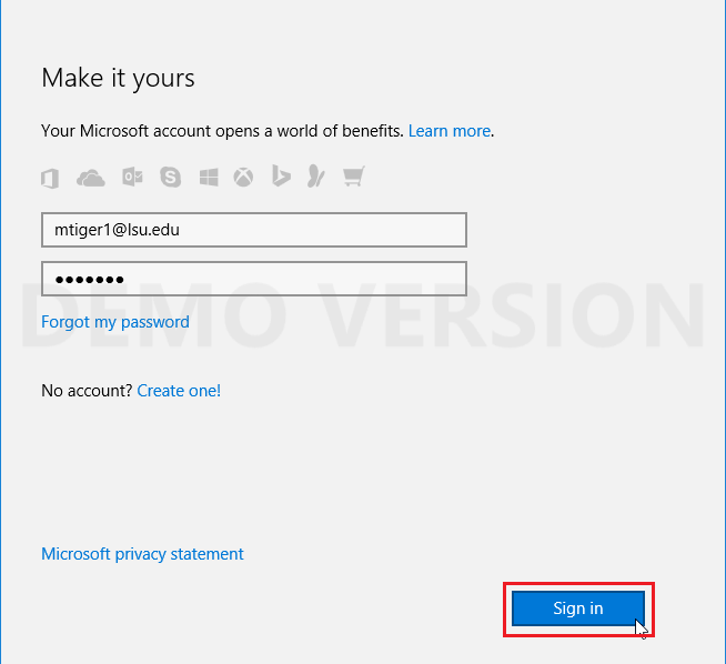 signing in with Microsoft account.