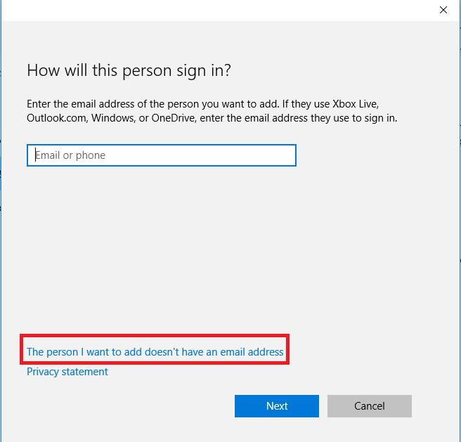 "user creation screen with ""The person I want to add doesn't have an email address"" highlighted."