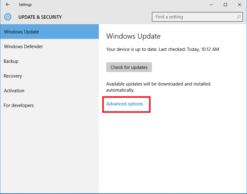 under windows update with advance settings highlighted.