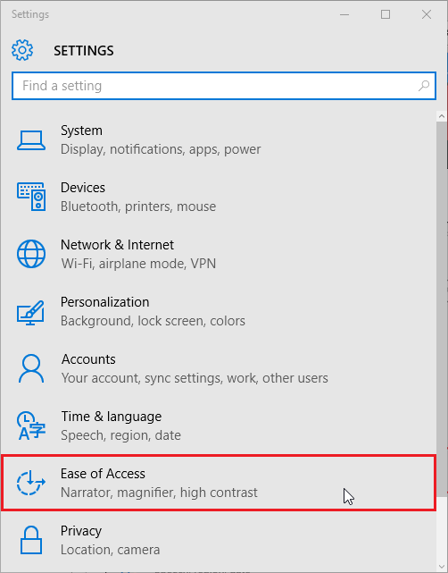 ease of access option in the settings menu.