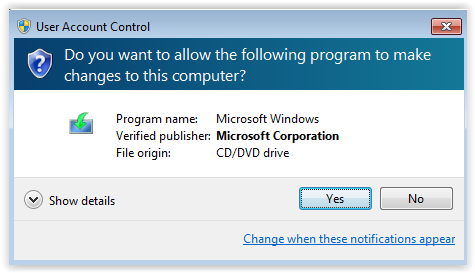 windows user account control pop up.