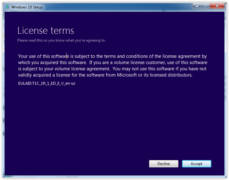the license terms screen