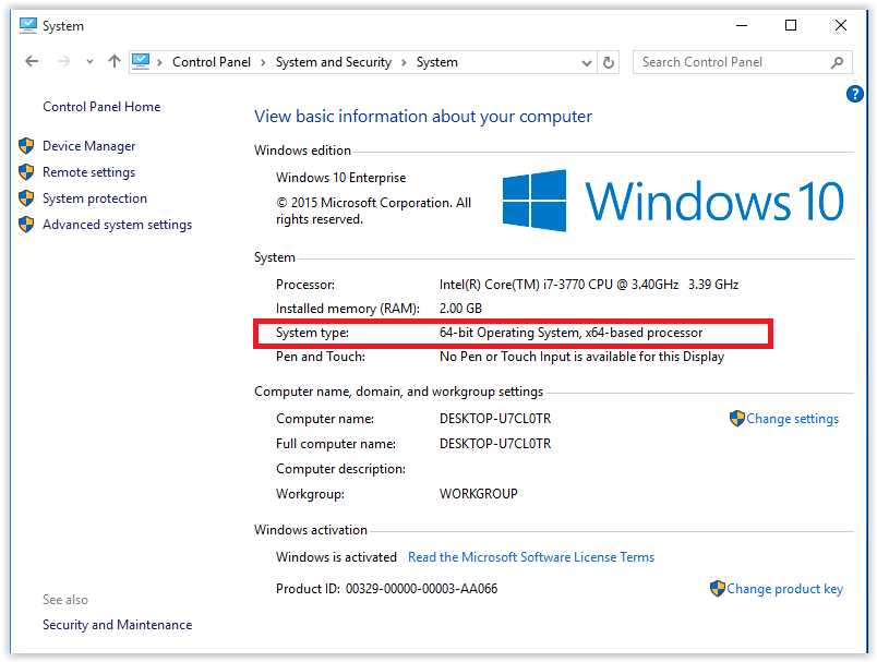 Windows 10 System Information
