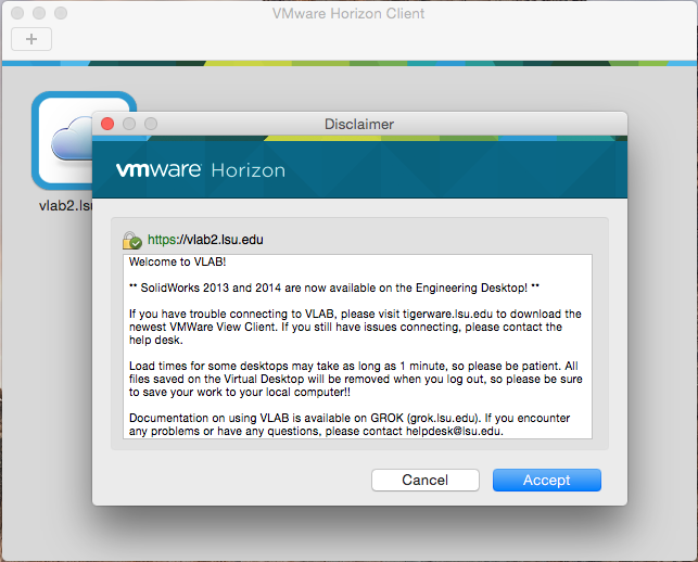 showing the Disclaimer screen in VMware Horizion
