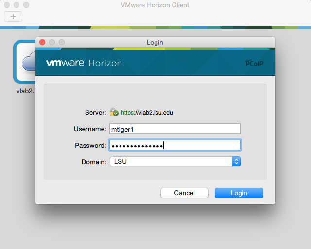 VMware horizon showing to enter your paws id and password