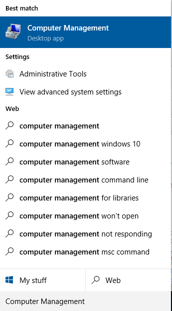 Computer management tab