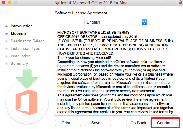 The license agreement window with the continue button highlighted at bottom right screen