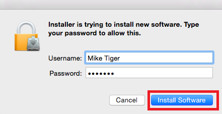 The installer popup with the install software button highlighted in the bottom right