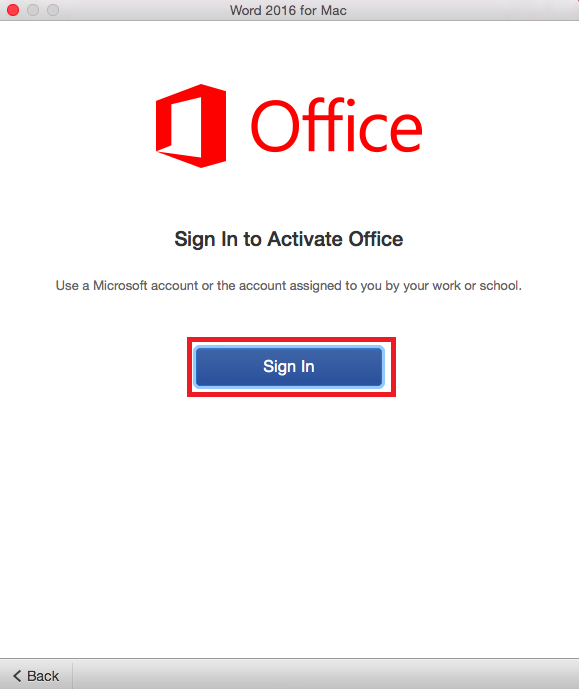 The Office sign in page with the sign in button highlighted mid-screen