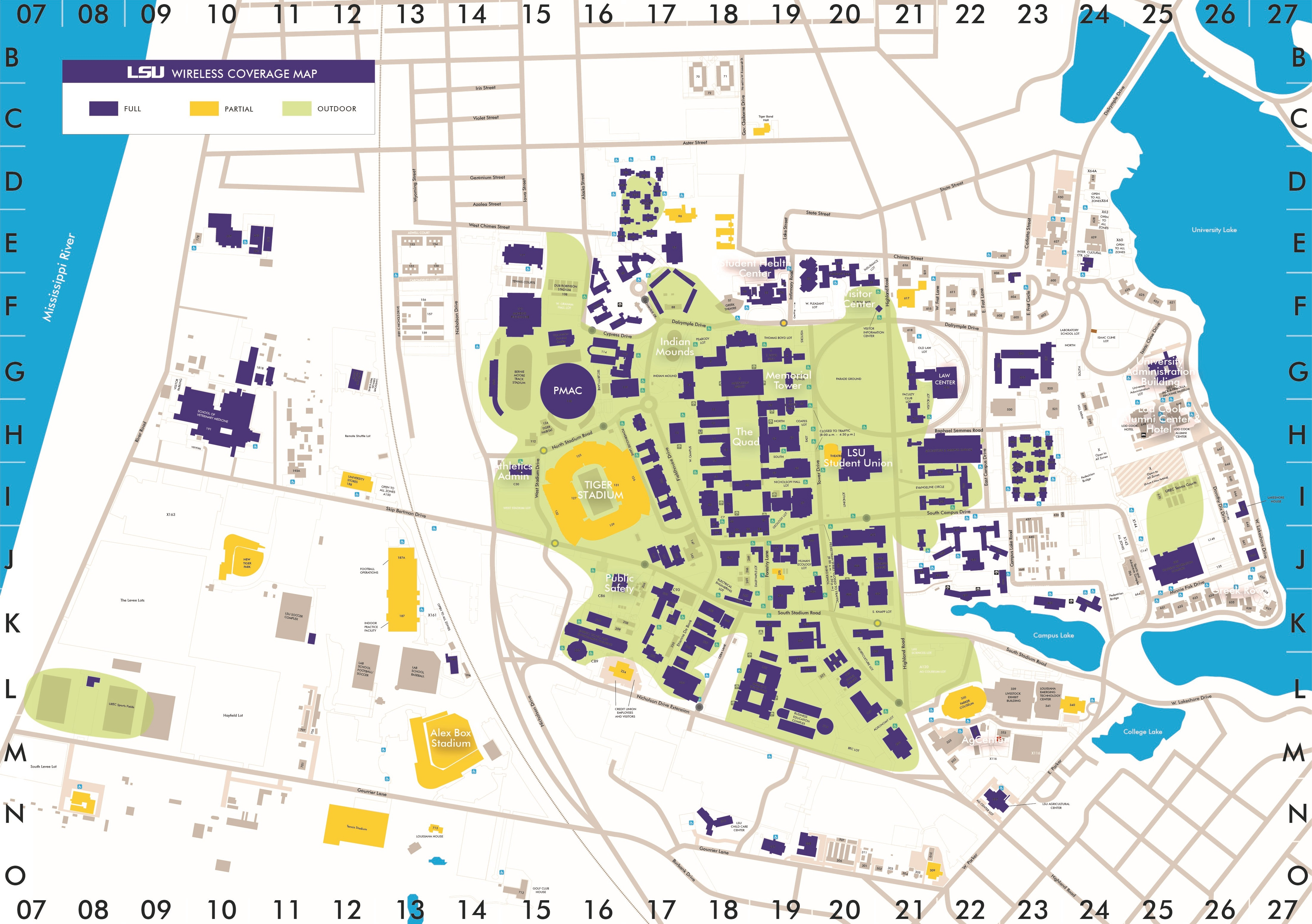 A map of LSU's wireless coverage.