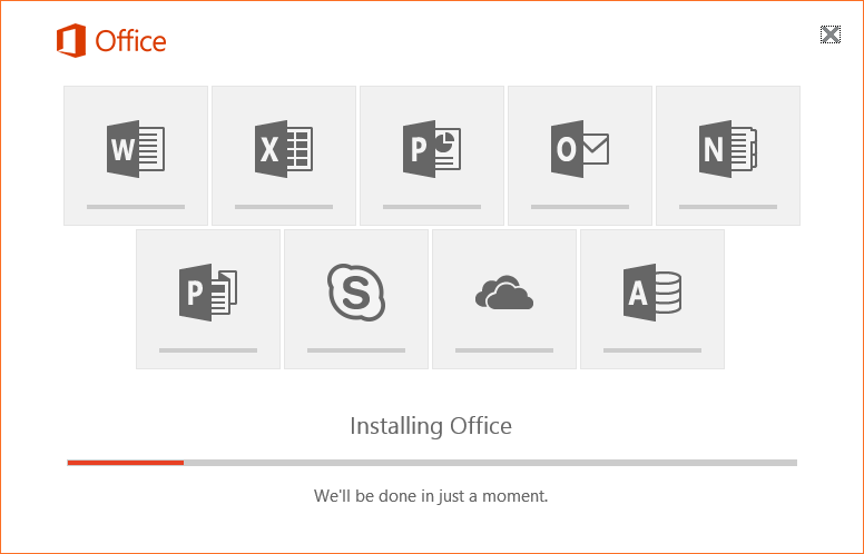 Installing office progress screen