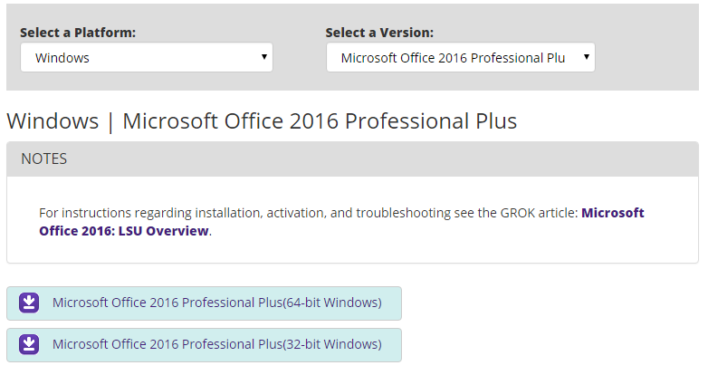 Microsoft Office 2016 download links on TigerWare.