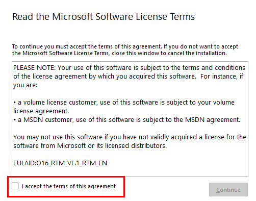 Accept the Microsoft Software License Terms.
