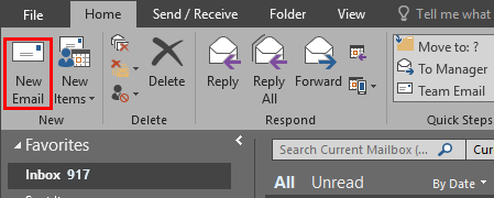 "the ""New Email"" button at the top left in Outlook 2016."