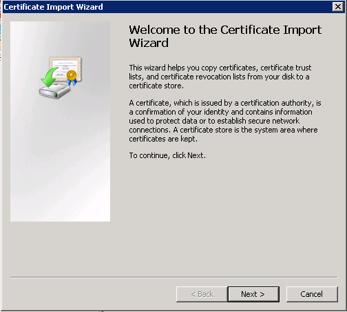 Certificate Import Wizard welcome screen