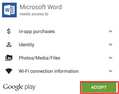 the accept button in the permissions for an app popup.