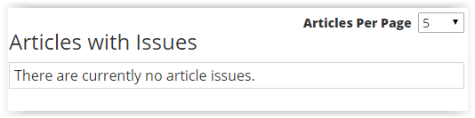 'articles with issues' section.
