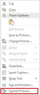 Format picture option in Microsoft Office