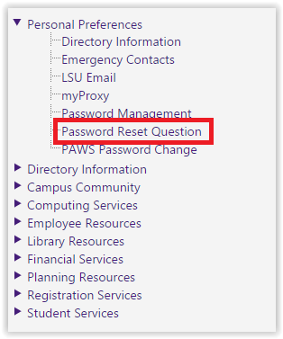 Password reset Question option underneath personal preferences expanded list
