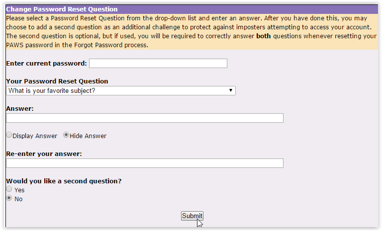 Question Reset Password screen in myLSU.