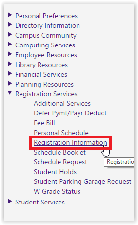 myLSU: Registration Information highlighted in the left hand side menu