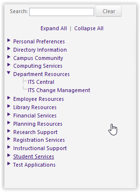 Department Resources menu