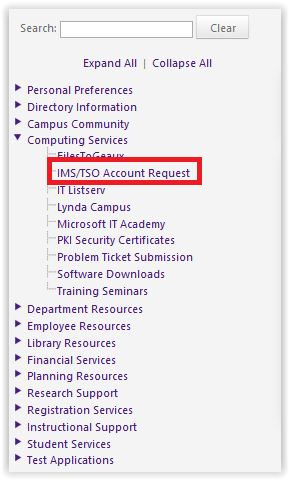 IMS/TSO Account Request under Computing Services