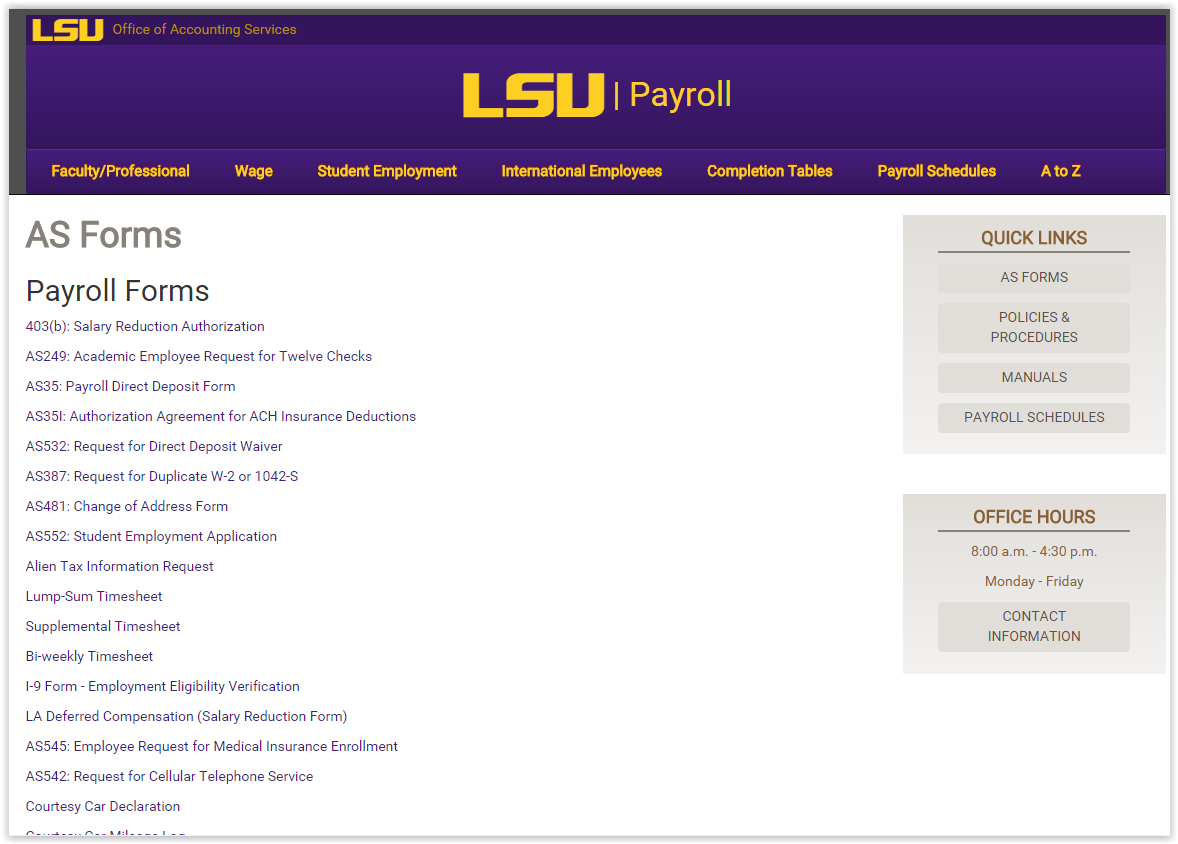 LSU Payroll Forms webpage