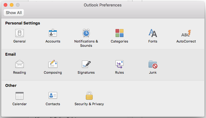 Personal Settings in outlook preferences