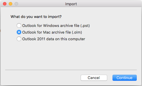 Import Options window