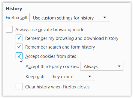 Accept cookies from sites checkbox.