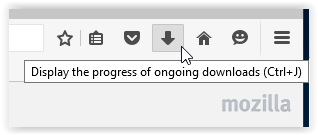 downloads button on firefox homepage.
