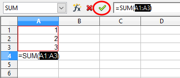 how to add sum icon in open office calc