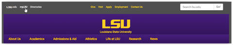 LSU home page navigation bar