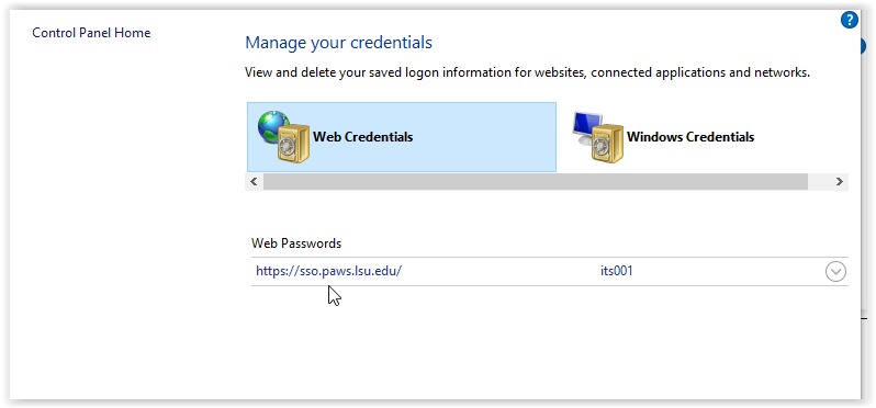 manage credentials window in control panel