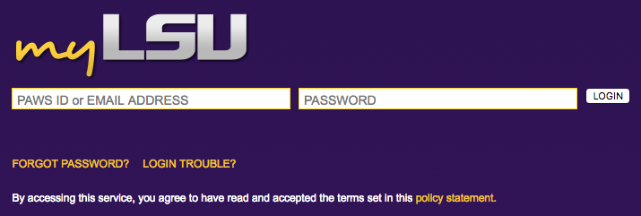 log in screen for myLSU.