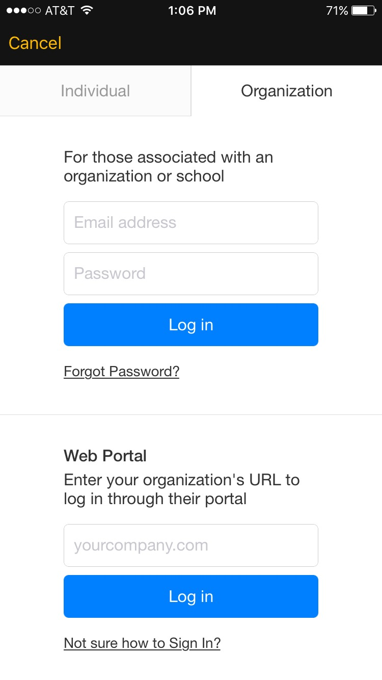 Lynda iOS app showing to login via individual or organization.