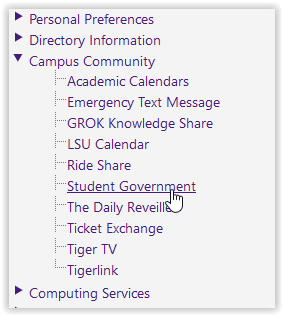 the student government link in myLSU.