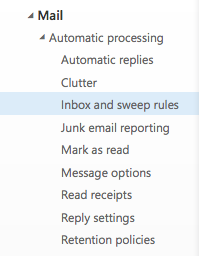 Inbox and Sweep rules